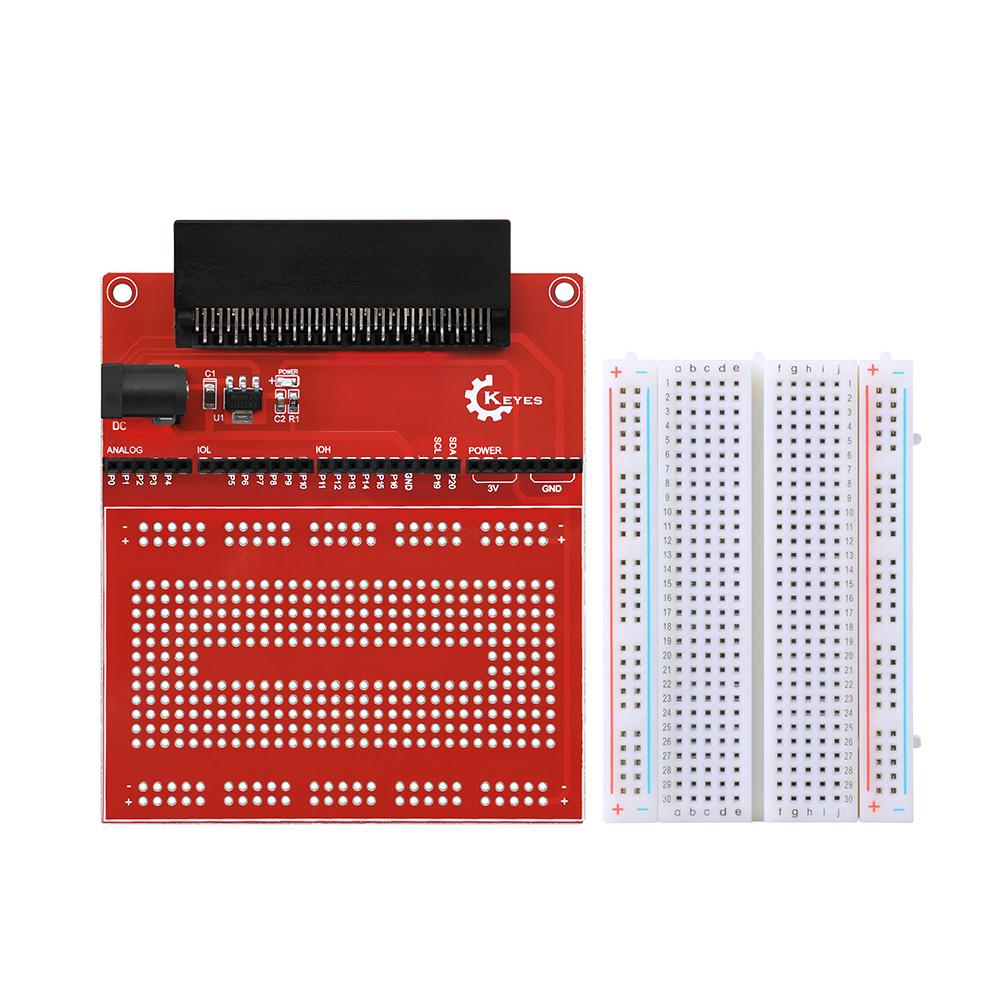 KE0135 keyes micro bit 原型扩展板V2,含400孔面包板 红色环保